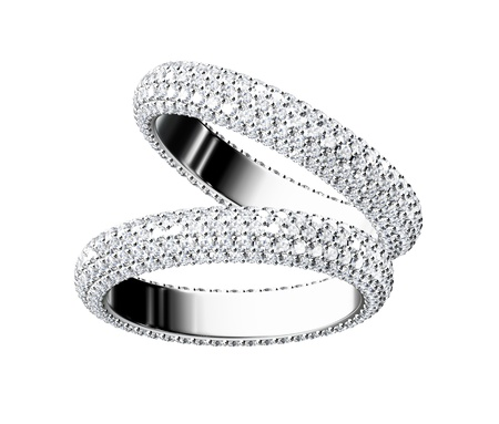 흰색 배경에 아름다움 결혼 반지