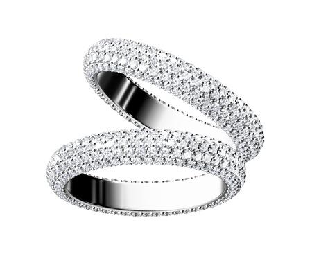 collares: El anillo de bodas de belleza en el fondo blanco
