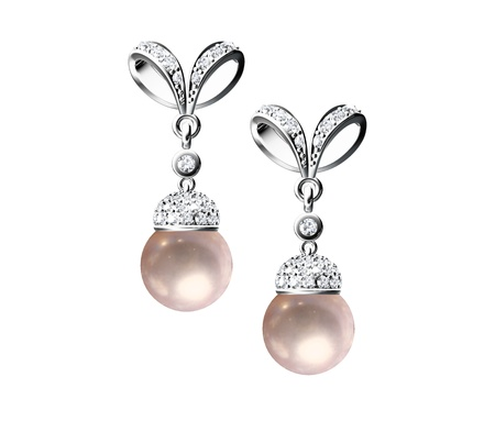 earring: The beauty pearl earrings on white background Stock Photo