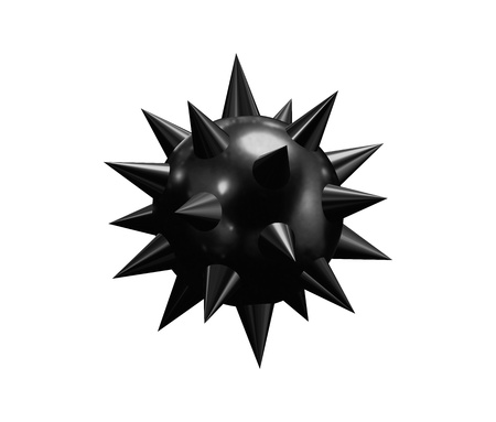 subversive: Round bomb with lit fuse on white background