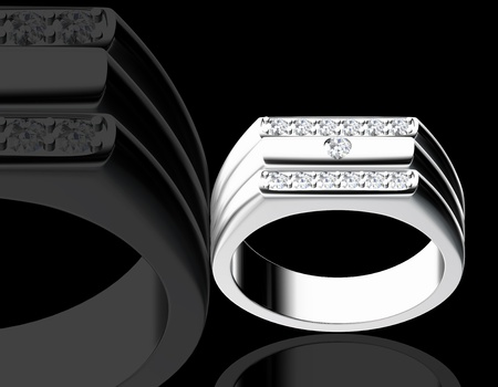 silver jewelry: 3d rendering of a diamond ring on black background Stock Photo