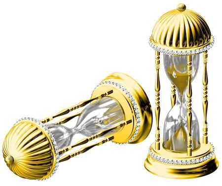시간을 측정하는 오래된 금 모래 시계
