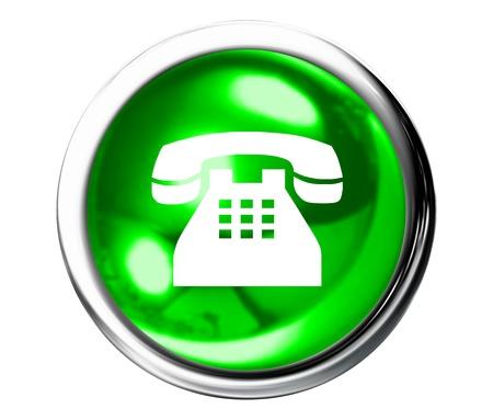 Green Telephone Icon Button