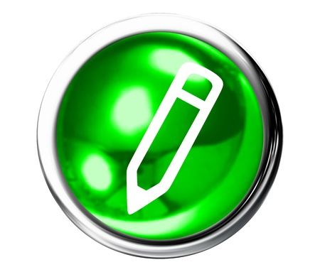 edit icon: Green Pencil Icon Button Stock Photo
