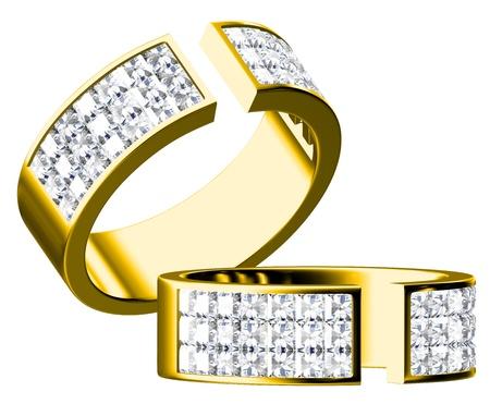collares: Anillo de diamantes aislada sobre fondo blanco Foto de archivo