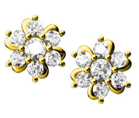 pendant: The beauty diamond earrings on white background