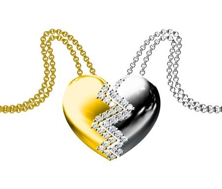 Diamond Pendant isolated on white background photo