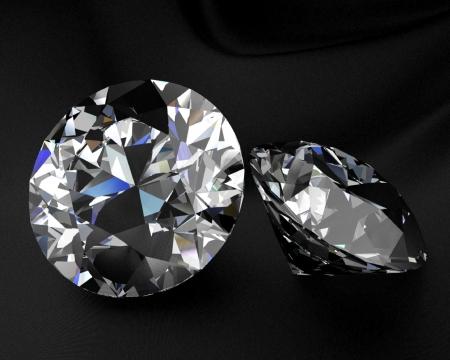 Three diamonds on a black reflective floor Stock Photo