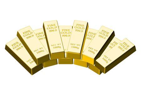 lingote de oro: Lingote de oro aisladas sobre fondo blanco Foto de archivo