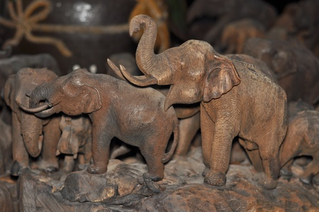 Two hand-carved asian elephant photo