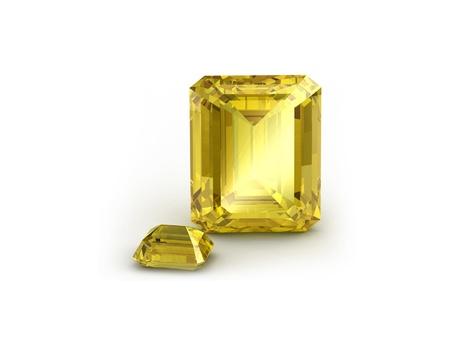 tsavorite: Yellow sapphire on whit background Stock Photo