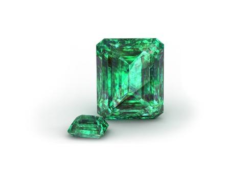 tsavorite: Green gemstone on white background. Emerald, Peridot or Chysolite gemstone Stock Photo