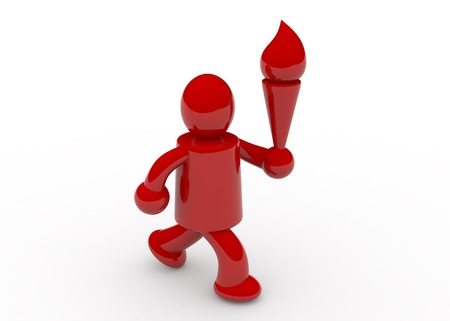 3D render of red man running photo
