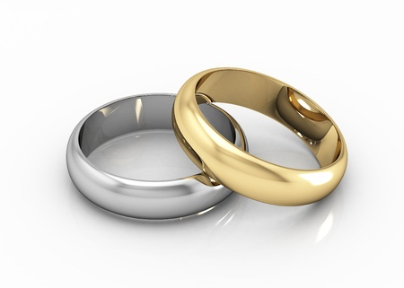 wedding  ring: El anillo de bodas de belleza en el fondo blanco