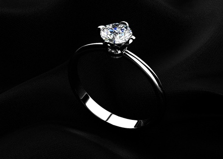 The beauty wedding ring on  black background photo