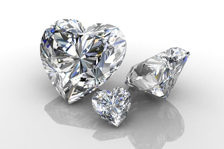 scintillation: Heart shape diamond on white
