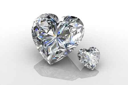 Heart shape diamond on white  Stock Photo - 11865784