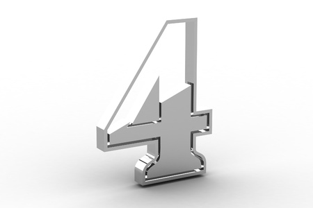 Number 4 from chrome solid alphabet