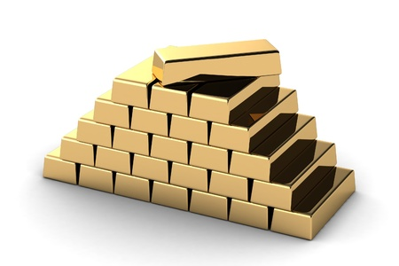 Gold bars on white background photo