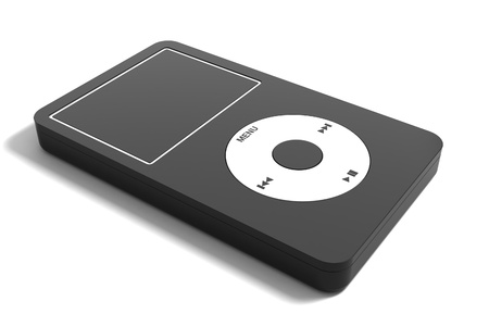 mp3: Audio system on a white background
