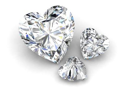 흰색에 심장 모양 다이아몬드