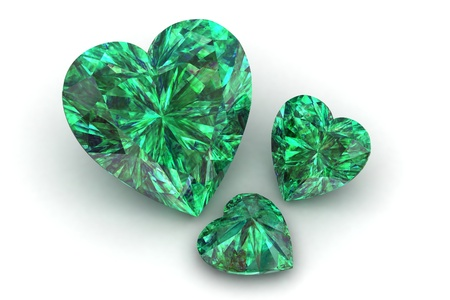 heart shape emerald isolated on white background - 3d render  photo