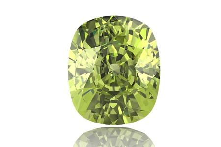 green gemstone: Green gemstone on white background  Emerald, Peridot or Chysolite gemstone