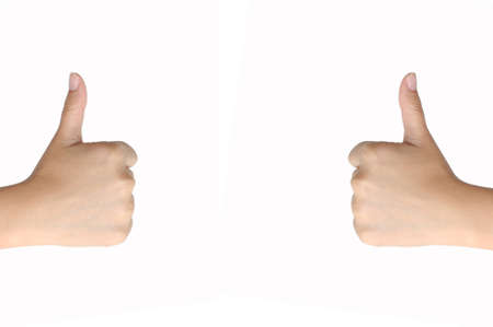 signalling: Hand Signalling Thumbs Up Isolated on white Stock Photo
