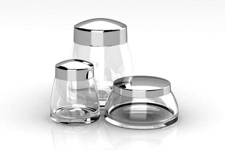 Glass bottle on white background photo
