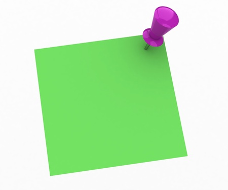 Green note and pink push pin isolated on white background Stock Photo
