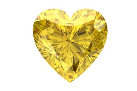 faceting: yellow sapphire on white background