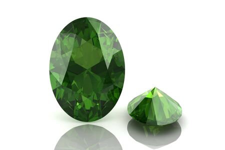 tsavorite: Peridot on white background Stock Photo