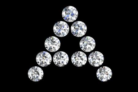 edelstenen: De letter A 3d diamant kunst illustratie Stockfoto