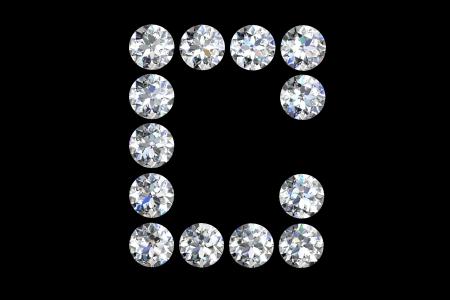 types of glasses: The letter C 3d diamond art illustration