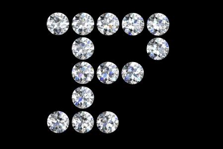 The letter F 3d diamond art illustration Stock Illustration - 14413406