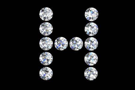 The letter H 3d diamond art illustration illustration