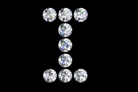 diamond letters: The letter I 3d diamond art illustration Stock Photo