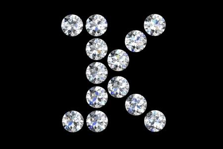The letter K 3d diamond art illustration Stock Illustration - 14413396