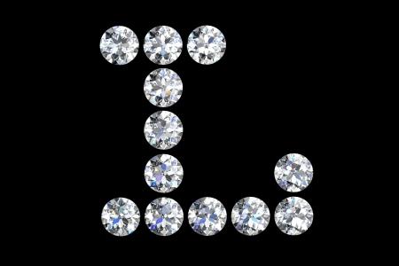 The letter L 3d diamond art illustration Stock Illustration - 14413387