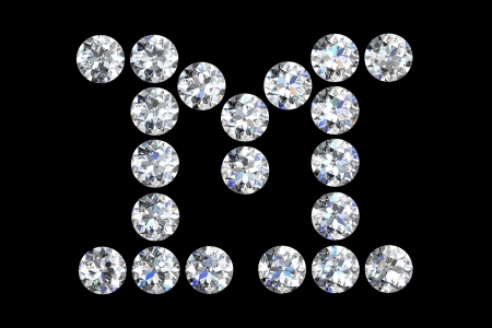The letter M 3d diamond art illustration illustration