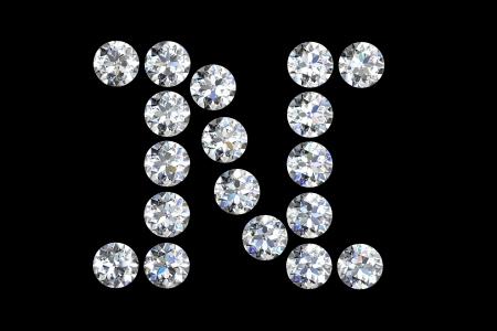 diamond letters: The letter N 3d diamond art illustration