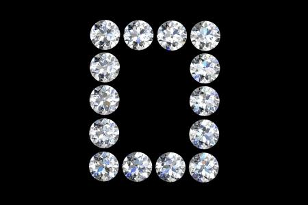 The letter O 3d diamond art illustration illustration