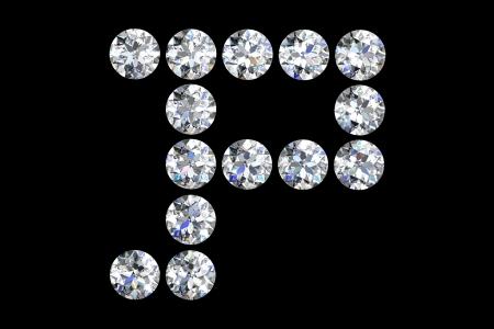 The letter P 3d diamond art illustration Stock Illustration - 14413412
