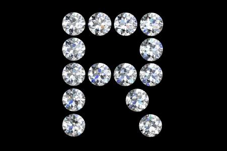 diamond letters: The letter R 3d diamond art illustration