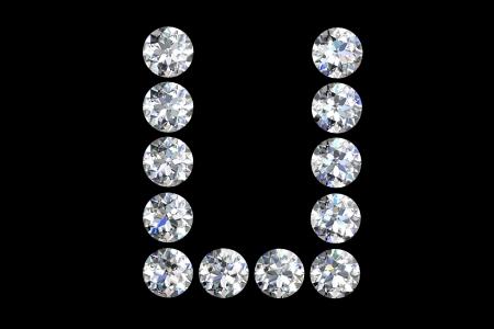 The letter U 3d diamond art illustration Stock Illustration - 14413393
