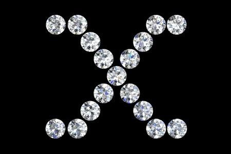 The letter X 3d diamond art illustration Stock Illustration - 14413401