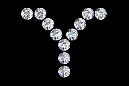 The letter Y 3d diamond art illustration Stock Illustration - 14413378