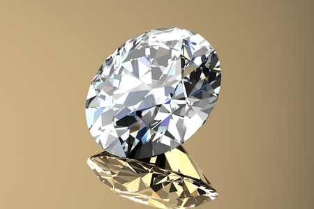 Diamond jewel with reflections on gold background photo