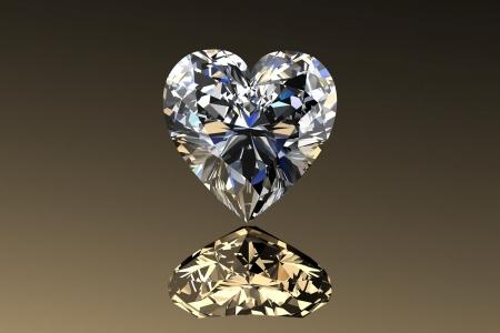 Verlobung: Diamond jewel mit Reflexionen auf goldenem Hintergrund Lizenzfreie Bilder
