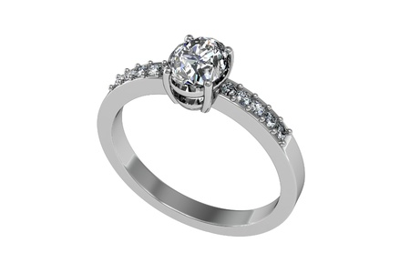 Jewellery ring on a white background. 스톡 콘텐츠